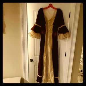 Red velvet and gold costume gown...